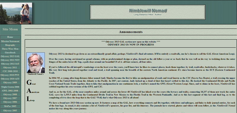 Nimblewill Nomad Website