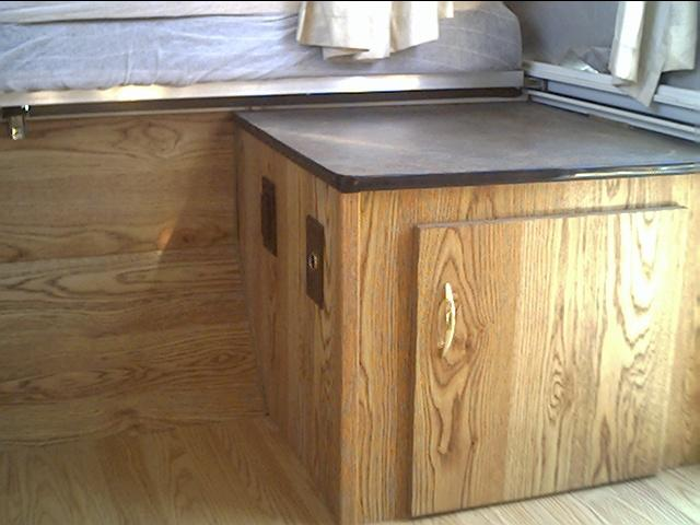 Front curbside cabinet completed. Note the Formica counter top and T-molding and the curved edges of the counter top.