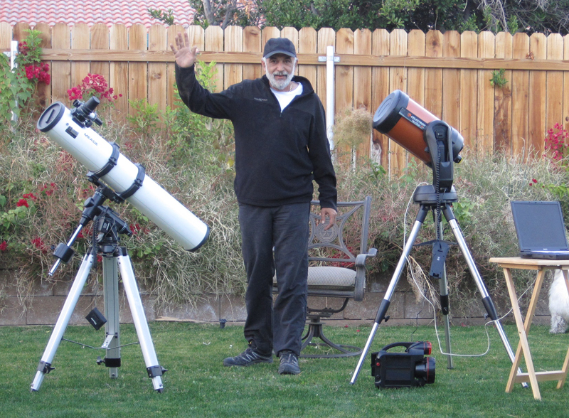 "Meade 5"" diameter 127NT/500 reflector telescope (left) and Celestron NexStar 8SE (right)"