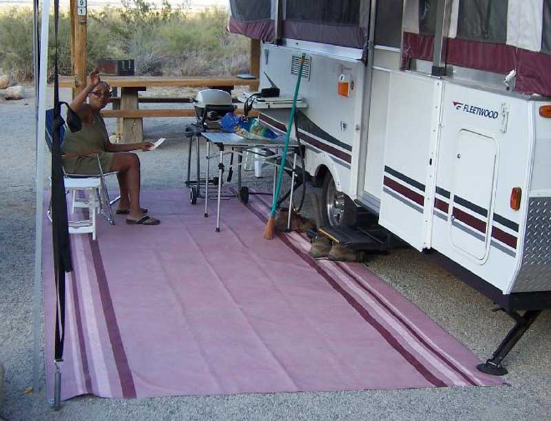 If you use a patio mat, I suggest you place it down first. Makes it easier to keep things clean, the mat can be laid next to the wheel, and the BAL Leveler or Chock, and the stabilizer all can rest on the mat, keeping it more secure.