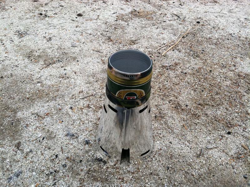 A Caldera Cone using a beer can pot.