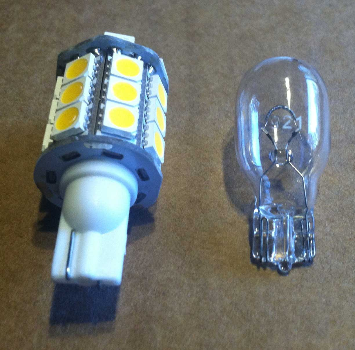921 LED on left, standard 921 on right.