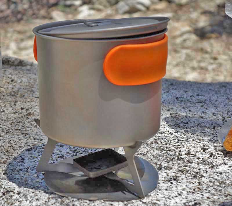 The LiteTrail Titanium Solid Fuel Cook System has a pot that can only hold ½ quart of water, but is perfect for the lightweight backpacker.