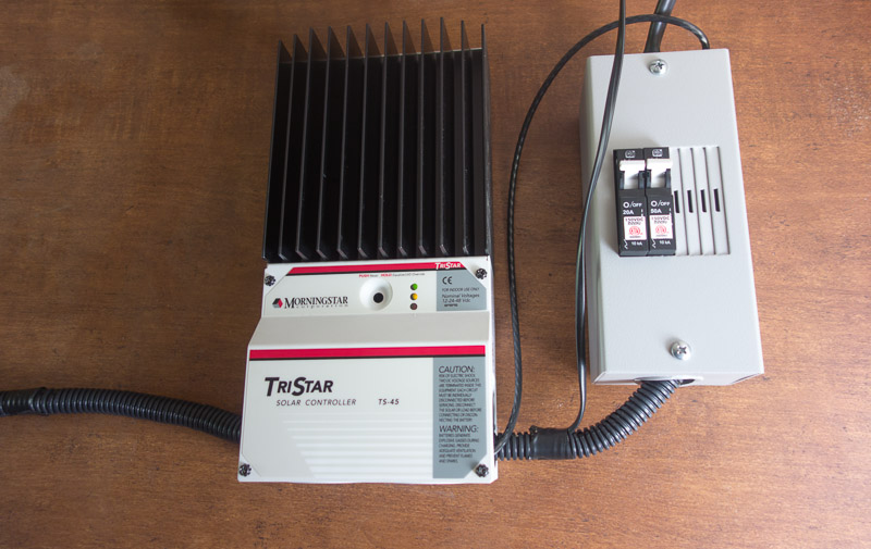 Morningstar TriStar Pulse Width Modulated 45 AMP Solar Controller with remove temperature sensor connected.