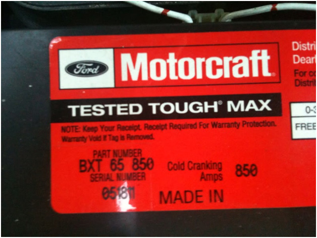 Automotive Starting Battery Label