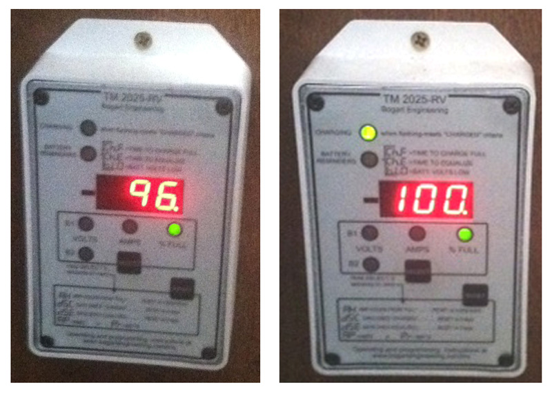 Trimetric 2025 RV battery monitor showing 96 and then 100 percent of battery full.