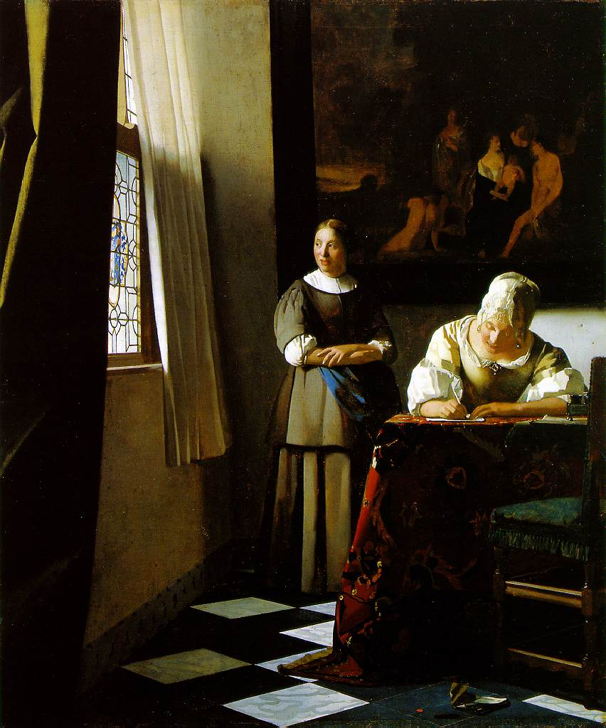 Lady Writing a Letter with Her Maid, by Johannes Vermeer