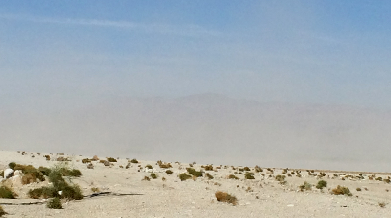 Last week the San Bernardino Mountains were hidden from view by a sand storm. This picture was taken about on mile north of our house, where the housing tracts ends to open desert.