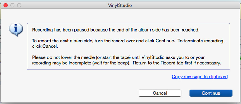 VinylStudio recording paused and waiting for me to turn the album over and resume
