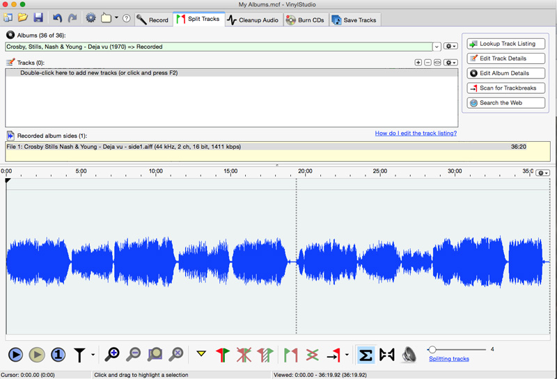 VinylStudio Recording completed and the waveform is show in the Split Tracks module.
