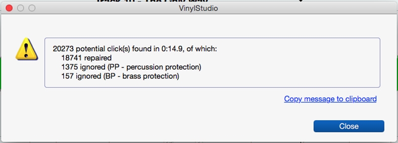 VinylStudio Repairs, which show how many clicks were removed and what was saved