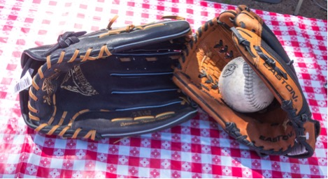 Our softball gloves and ball