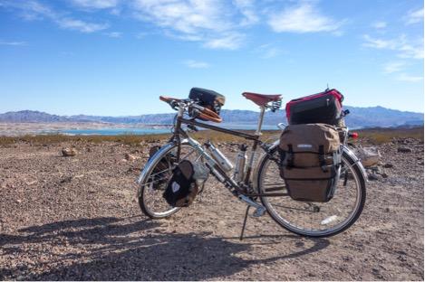 Touring Lake Mead area with my Novara Safari touring bike