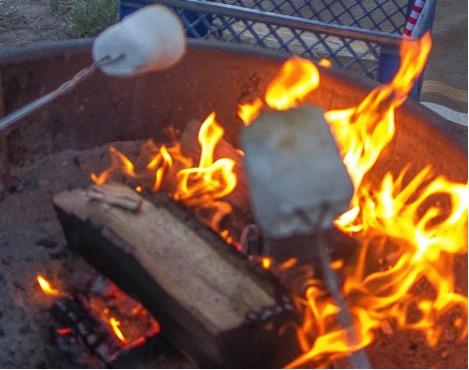 Roasting Marshmallows at the campfire at June Lake