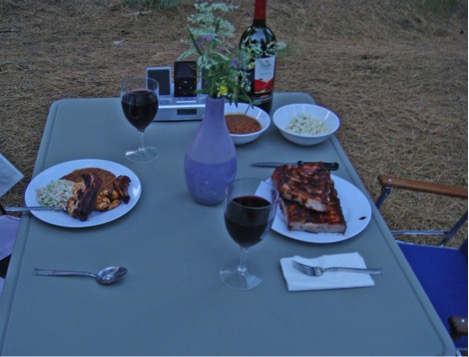 iPod and docking station while eating our 4th of July dinner in the Sierra