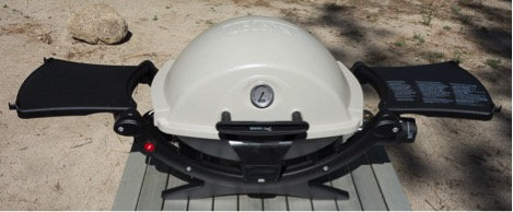 Weber Q120 Grill at our campground.