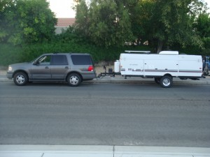 After lift. Note the trailer is not level, I later adjusted the hitch to make it level.