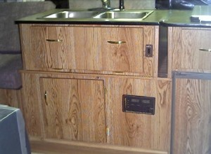 Sink and cabinet.