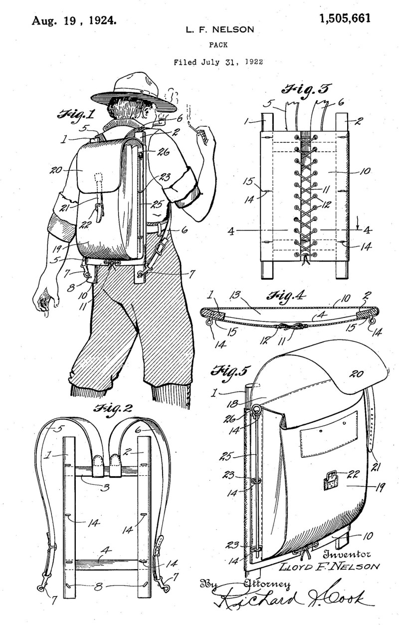 Patent drawing for the Trapper Nelson wood frame backpack.