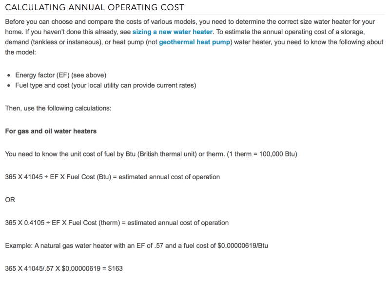 WH Calculation of Cost Explanation