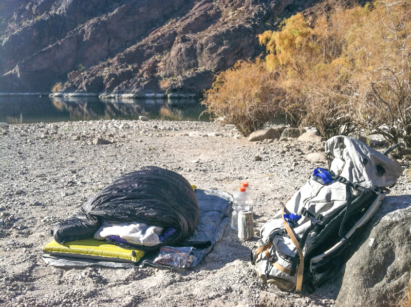 Backpacking along Colorado River in Black Canyon