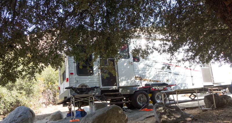 Parked next to a large oak tree that became our patio area -- no need to lower our trailer's awning