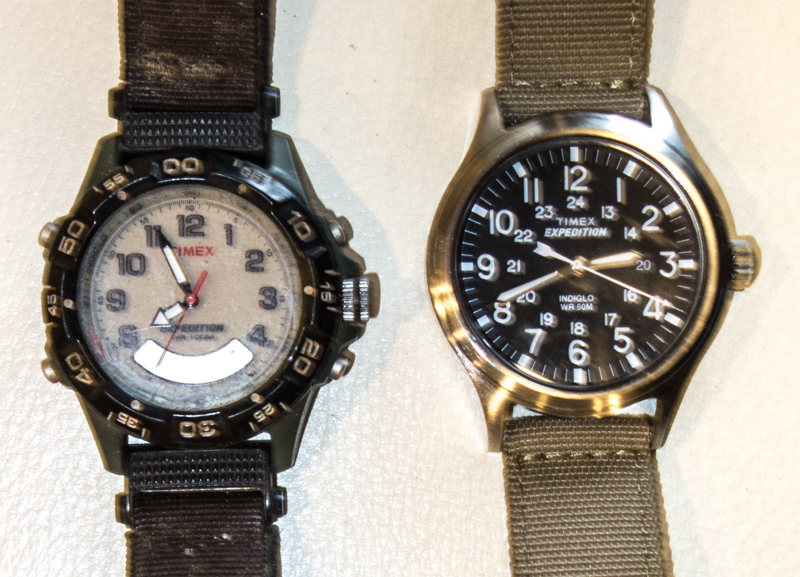 (left) dead watch. (right) new watch.