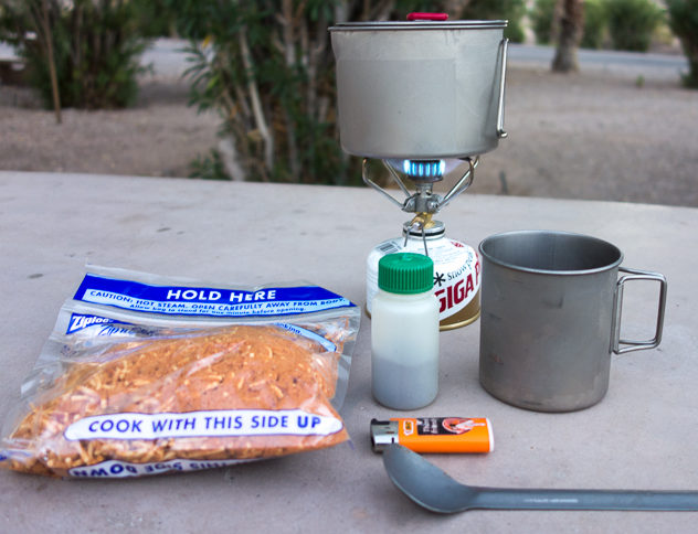 Snow Peak Giga Power backpacking stove during a bike touring trip